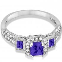 Tanzanite & Diamond Engagement Ring 14k White Gold (1.35ctw)