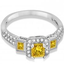 Yellow Sapphire & Diamond Engagement Ring 14k White Gold (1.35ctw)