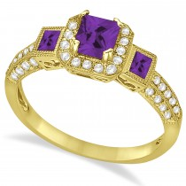 Amethyst & Diamond Engagement Ring in 14k Yellow Gold (1.35ctw)
