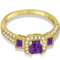 Amethyst & Diamond Engagement Ring in 14k Yellow Gold (1.35ctw)