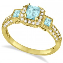 Aquamarine & Diamond Engagement Ring in 14k Yellow Gold (1.35ctw)