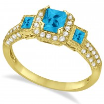 Blue Topaz & Diamond Engagement Ring in 14k Yellow Gold (1.35ctw)