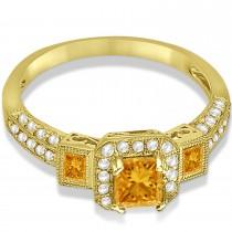 Citrine & Diamond Engagement Ring in 14k Yellow Gold (1.35ctw)