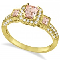 Morganite & Diamond Engagement Ring in 14k Yellow Gold (1.35ctw)