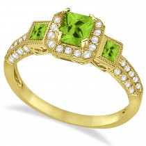 Peridot & Diamond Engagement Ring in 14k Yellow Gold (1.35ctw)