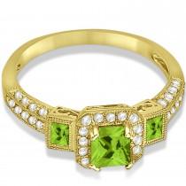 Peridot & Diamond Engagement Ring in 14k Yellow Gold (1.35ctw)