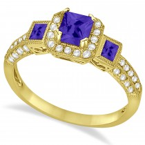 Tanzanite & Diamond Engagement Ring in 14k Yellow Gold (1.35ctw)