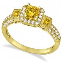 Yellow Sapphire & Diamond Engagement Ring in 14k Yellow Gold (1.35ctw)