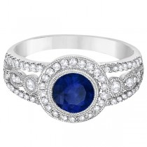 Vintage Blue Sapphire & Diamond Ring 14k White Gold (1.50ct)|escape