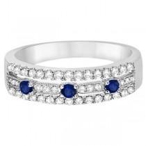 Blue Sapphire & Diamond Ring 14k White Gold (0.45ctw)