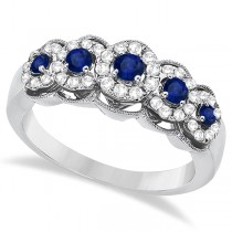 Blue Sapphire & Diamond Ring 14k White Gold (0.75ctw)