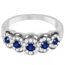 Blue Sapphire & Diamond Ring 14k White Gold (0.75ctw)