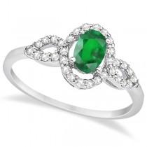 Oval Halo Emerald & Diamond Engagement Ring 14K White Gold (1.16ct)