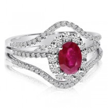 Oval Ruby & Round Diamond Accented Fashion Ring 14k White Gold 1.62ct