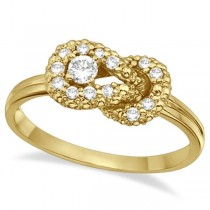 Diamond Love Knot Right-Hand Fashion Ring in 14k Yellow Gold (0.22ct)