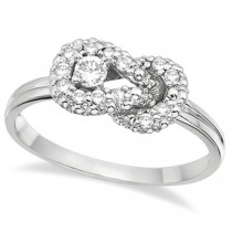 Diamond Love Knot Right-Hand Fashion Ring in 14k White Gold (0.22ct)