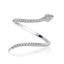 Snake Shape Diamond Fashion Ring 14k White Gold 0.21 ct