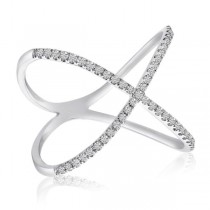 X-Shaped Diamond 14k Fashion Ring White Gold 0.2 ct