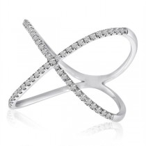 X-Shaped Diamond 14k Fashion Ring White Gold 0.2 ct