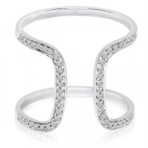 Omega Shape Diamond Fashion Ring 14k White Gold 0.2 ct