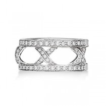 Hidalgo 3 X Shaped Diamond Ring Jacket 18k White Gold (0.45ct)