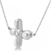 Rounded Sideways Diamond Cross Pendant Necklace 14k White Gold .05ct