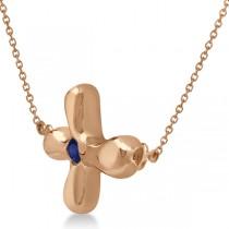 Rounded Sideways Blue Sapphire Cross Pendant 14k Rose Gold (0.08ct)