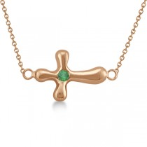 Rounded Sideways Emerald Cross Pendant Necklace 14k Rose Gold .06ct