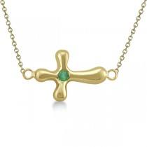 Rounded Sideways Emerald Cross Pendant Necklace 14k Yellow Gold .06ct