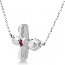 Rounded Sideways Ruby Cross Pendant Necklace 14k White Gold .07ct