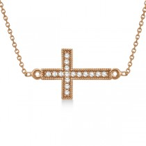 Vintage Diamond Sideways Cross Pendant Necklace 14k Rose Gold 0.20ct