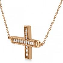 Vintage Diamond Sideways Cross Pendant Necklace 14k Rose Gold 0.20ct