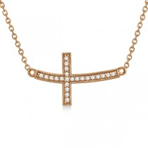 Curved Diamond Sideways Cross Pendant Necklace 14k Rose Gold 0.25ct