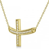 Curved Diamond Sideways Cross Pendant Necklace 14k Yellow Gold 0.25ct