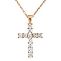 Prong-Set Diamond Cross Pendant Necklace 14k Rose Gold (0.55ct)