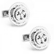 Bicycle Gears Cufflinks in Polished Sterling Silver