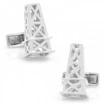 Men's Designed Oil Derrick Cufflinks in Sterling Silver