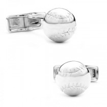 Men's Detailed Baseball Cufflinks in Sterling Silver