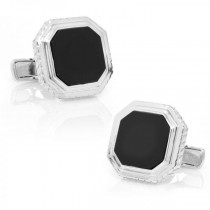 Men's Octagon Genuine Onyx Cufflinks in Sterling Silver