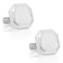 Men's Engravable Mother of Pearl Gemstone Cufflinks Sterling Silver