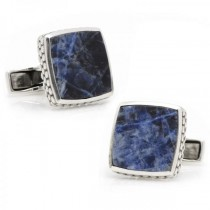 Men's Classic Scaled Lapis Cufflinks in Sterling Silver