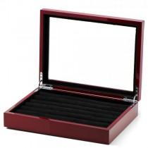 Men's Solid Oak Mahogany Cufflink Box Collector's Case Holds 36 Pairs