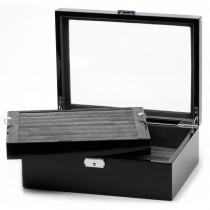 Men's Mahogany Oak Cufflink Case Jewelry Storage Holds 72 Pairs