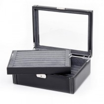 Men's Black Bonded Leather Cufflink Case Jewelry Storage Holds 72 Pair