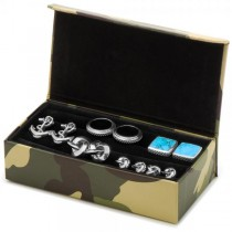 Travel Cufflink Jewelry Case Camouflage Leather Box Fits Six Pairs