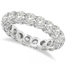 Luxury Prong Set Diamond Eternity Ring Band 18k White Gold (3.80ct)