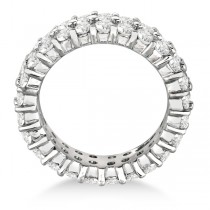 Two-Row Wide Band Diamond Eternity Ring 18k White Gold (4.50ct)