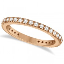 Pave Diamond Eternity Ring Anniversary Band 14K Rose Gold (0.50ct)