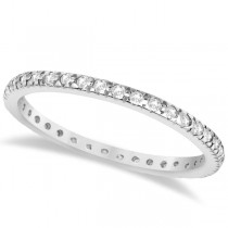 Pave Diamond Eternity Ring Anniversary Band 14K White Gold (0.26ct)