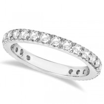 Pave Diamond Eternity Ring Anniversary Band 14K White Gold (0.75ct)